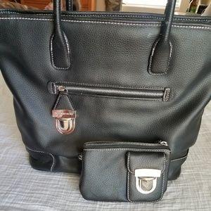 Victoria's Secret black leather tote bag set
